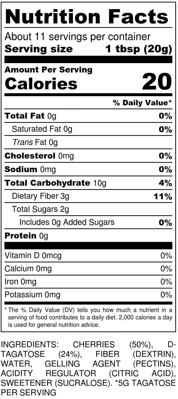 No Sugar Added Cherry Jam Nutrition Facts