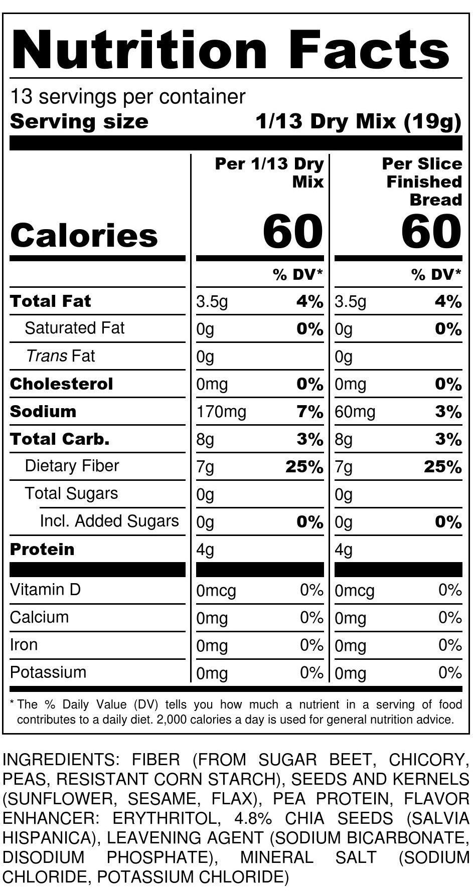 Chia Bread Mix Nutrition Facts