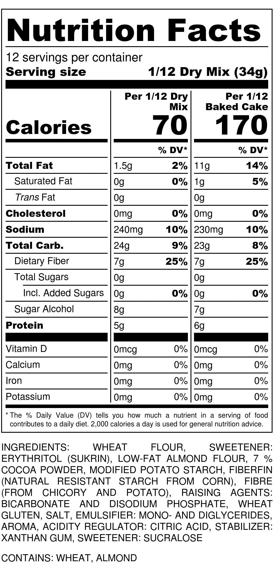 Chocolate Cake Mix Nutrition Facts