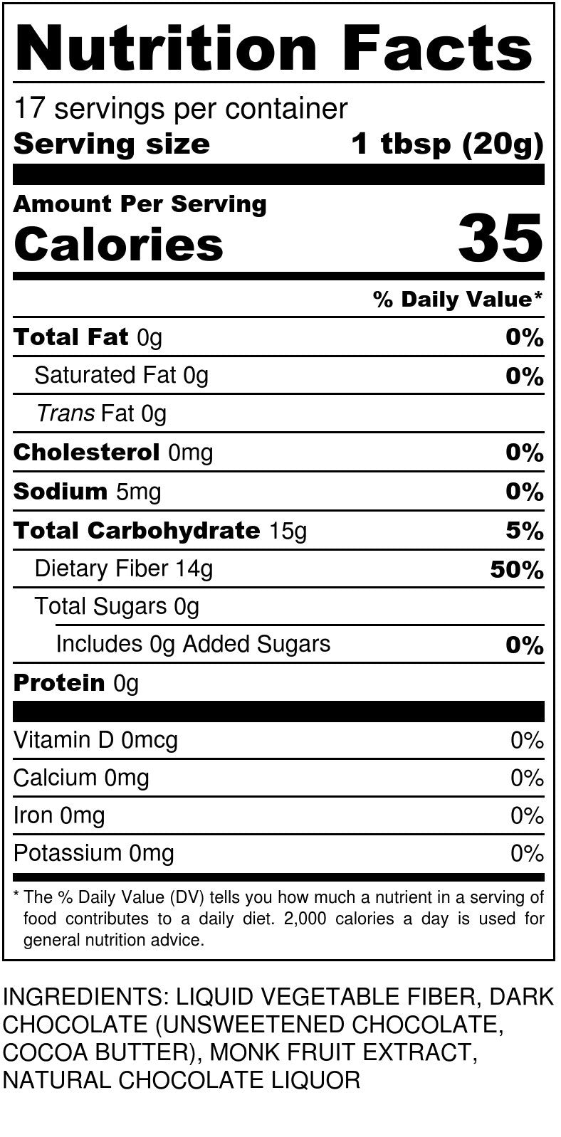 Sugar Free Chocolate Syrup Nutrition Facts