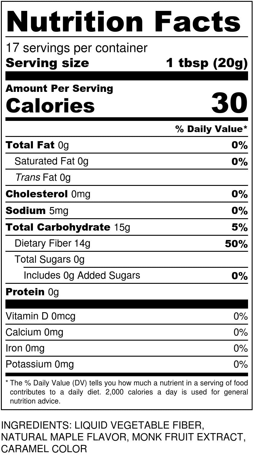 Sugar Free Maple Syrup Nutrition Facts