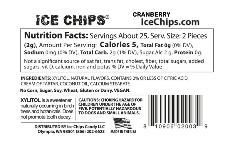 Cranberry Ice Chips Nutrition Facts