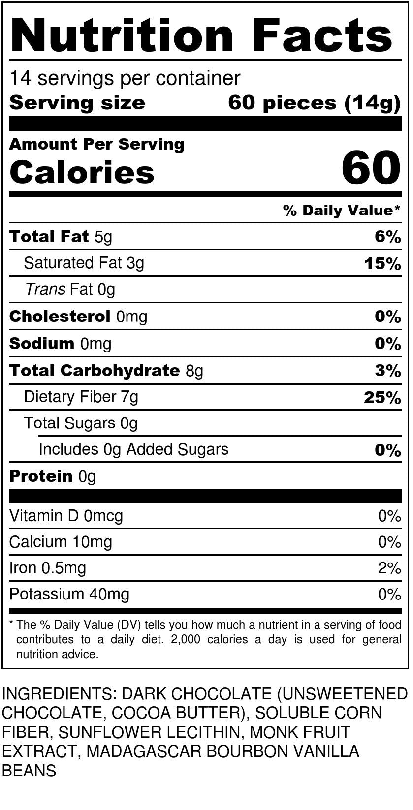 Sugar Free Dark Chocolate Chips Nutrition Facts