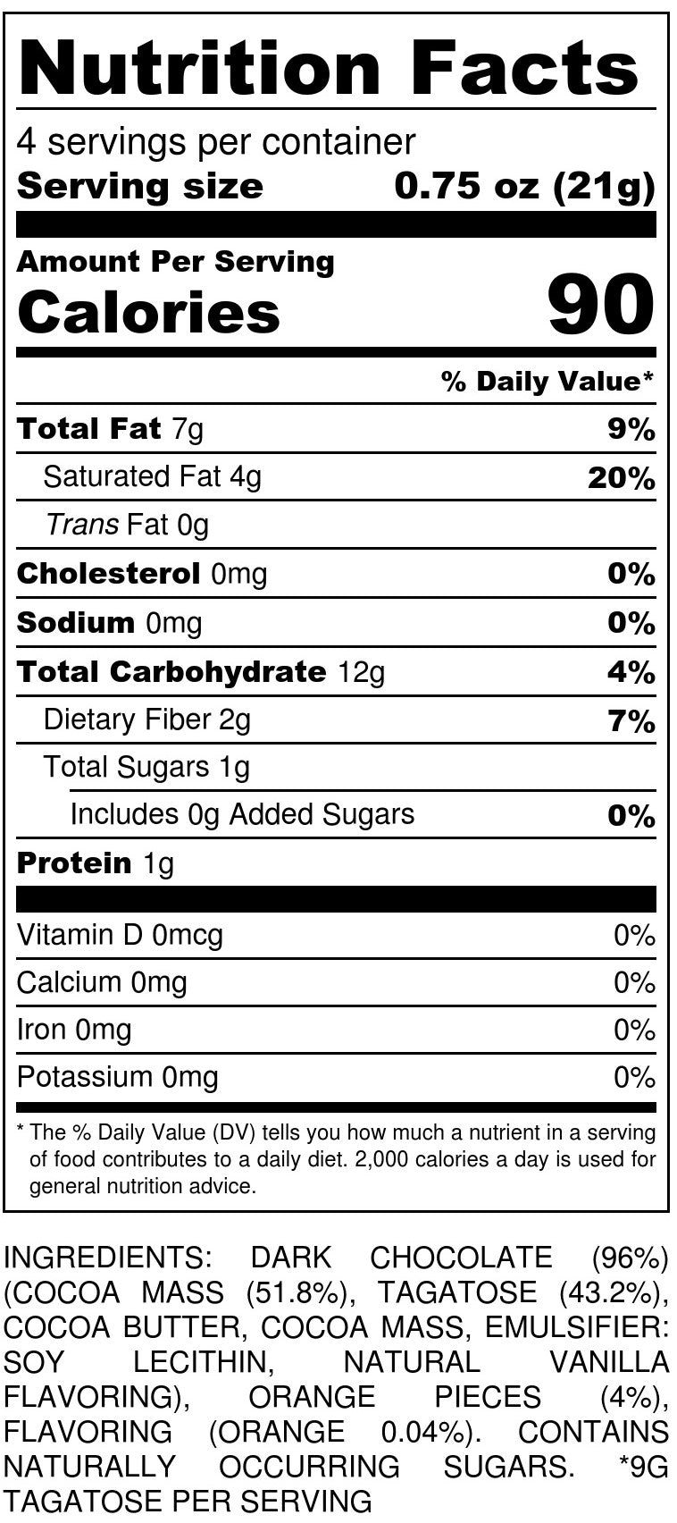 Orange Dark Chocolate Nutrition Facts
