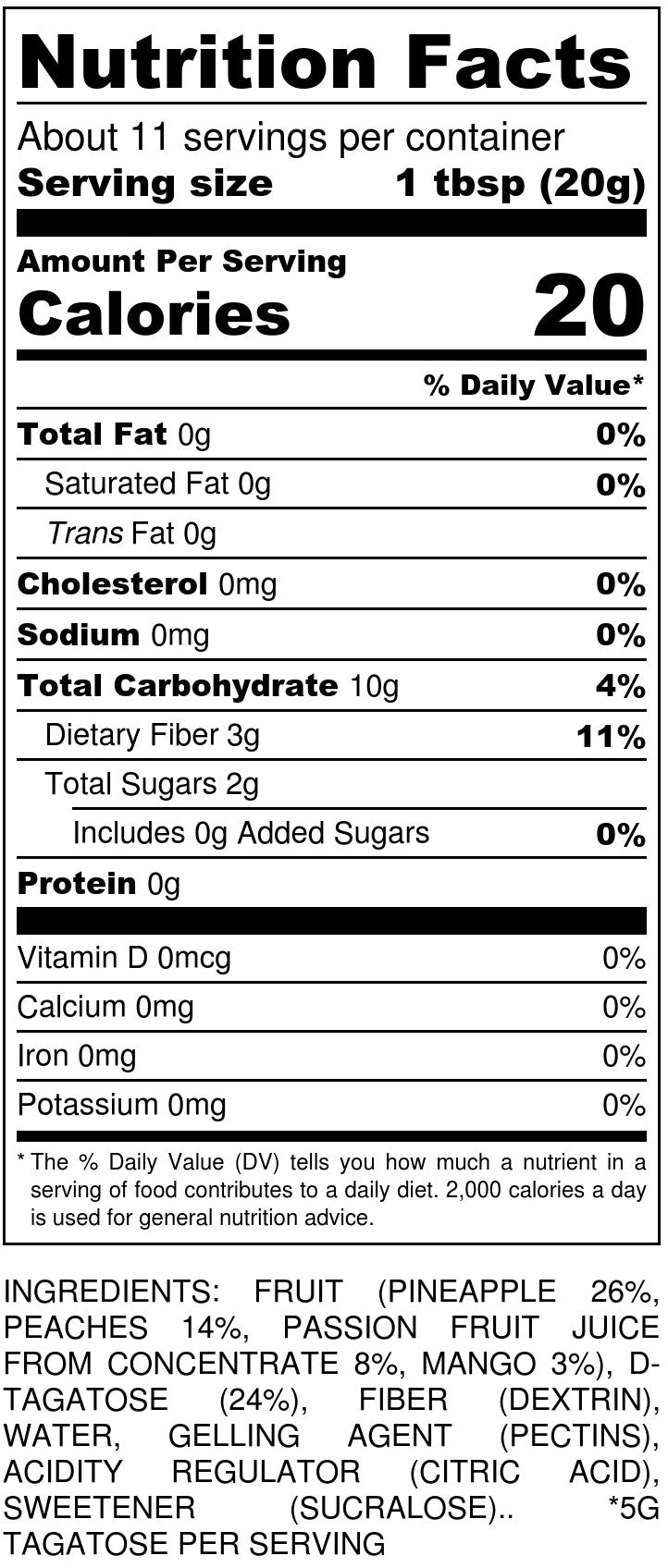 No Sugar Added Exotic Jam Nutrition Facts