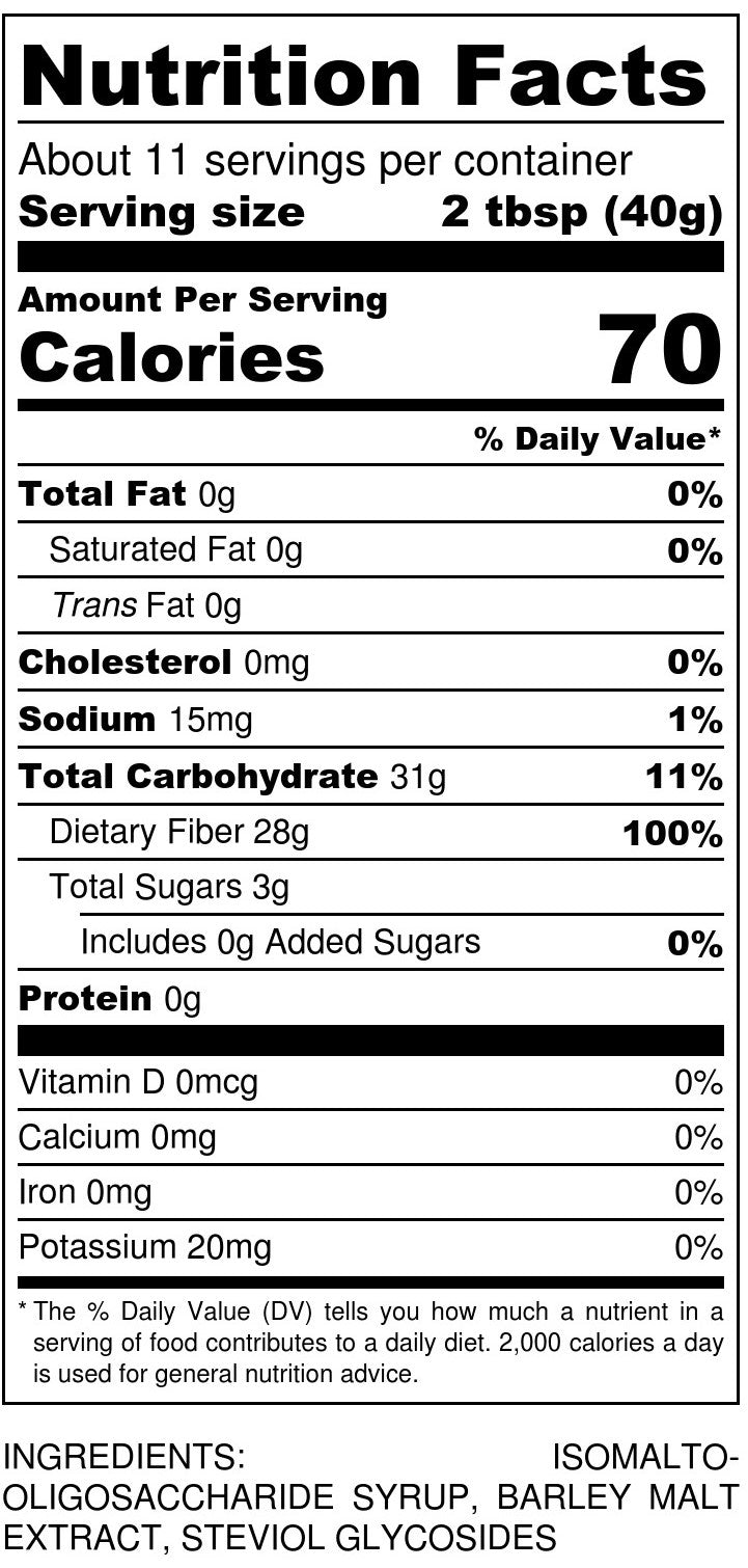 Syrup Gold Nutrition Facts