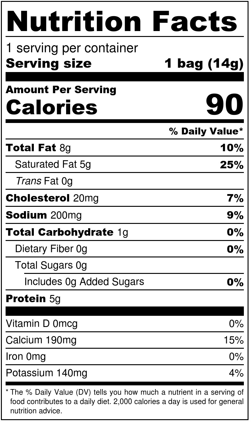 Jalapeño Cheese Minis Nutrition Facts