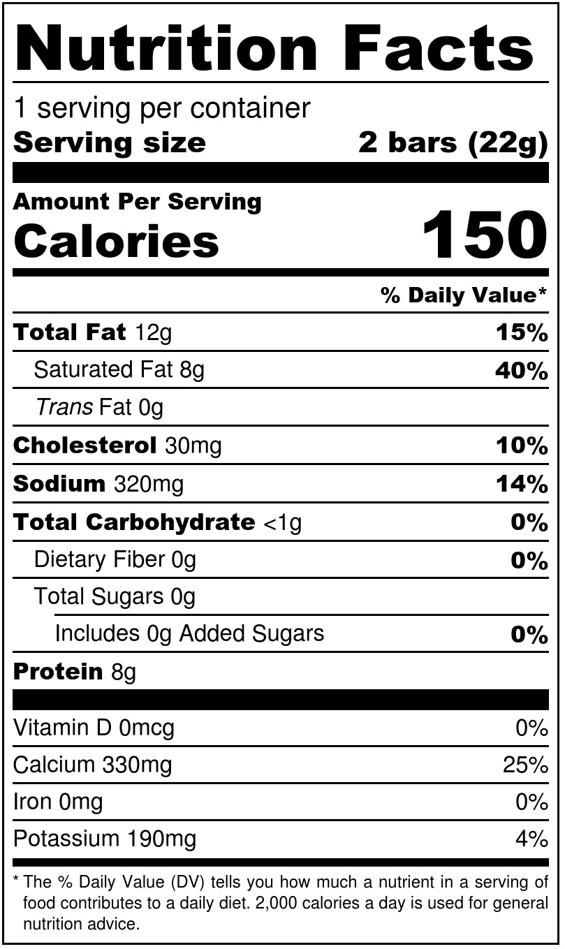 Jalapeño Cheese Bars Nutrition Facts