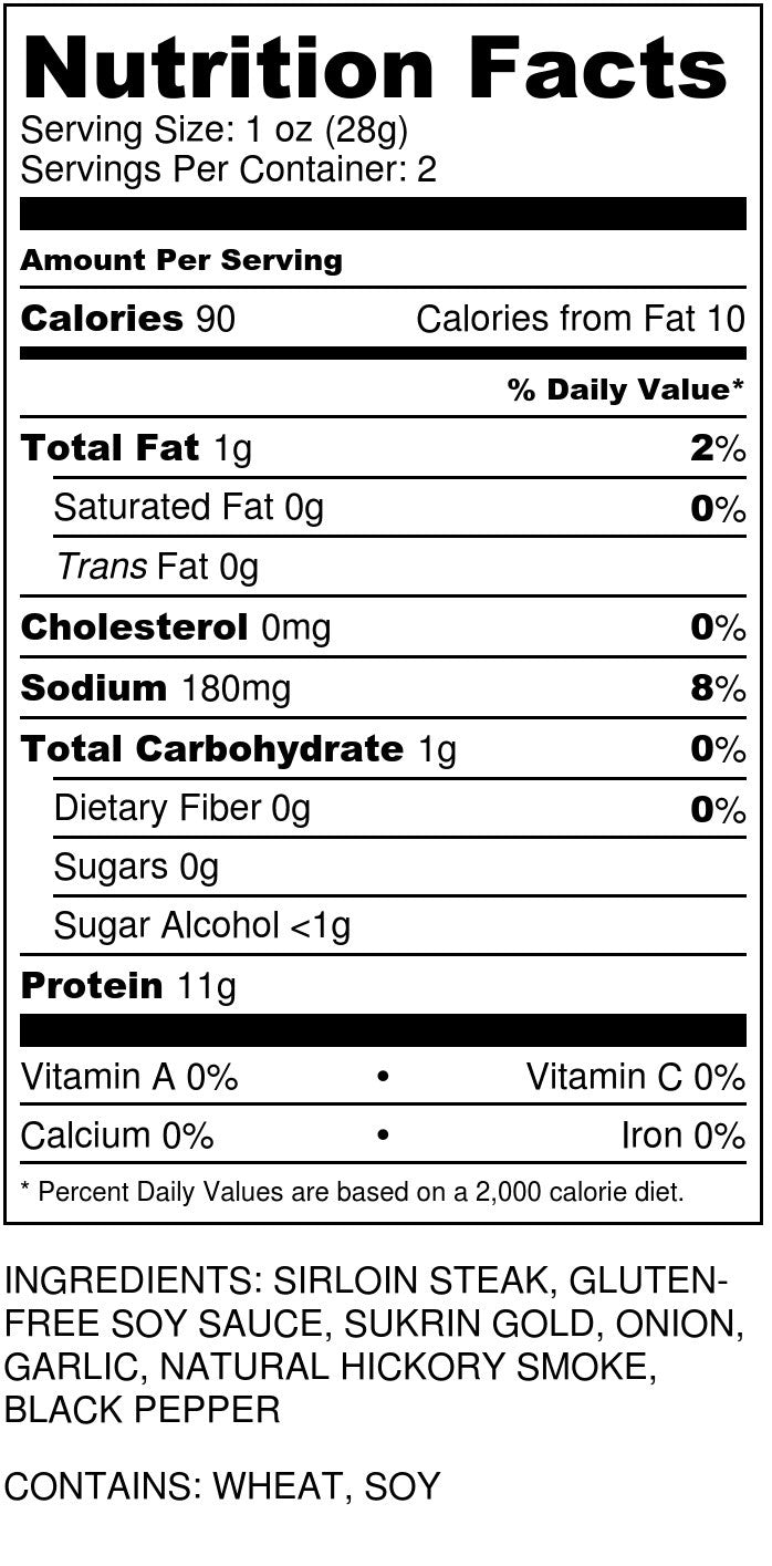 Sugar Free Teriyaki Jerky Nutrition Facts