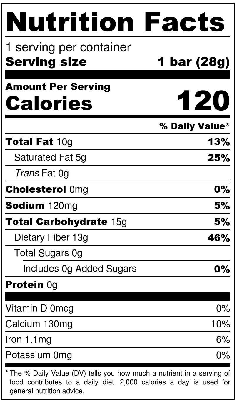 Keto Bark Dark Hazelnut Nutrition Facts