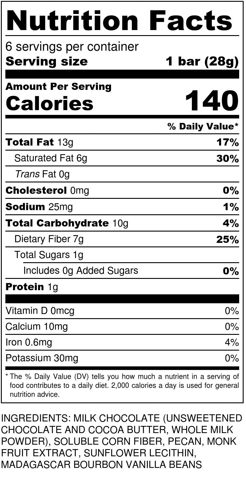 Keto Bark Milk Pecan Nutrition Facts