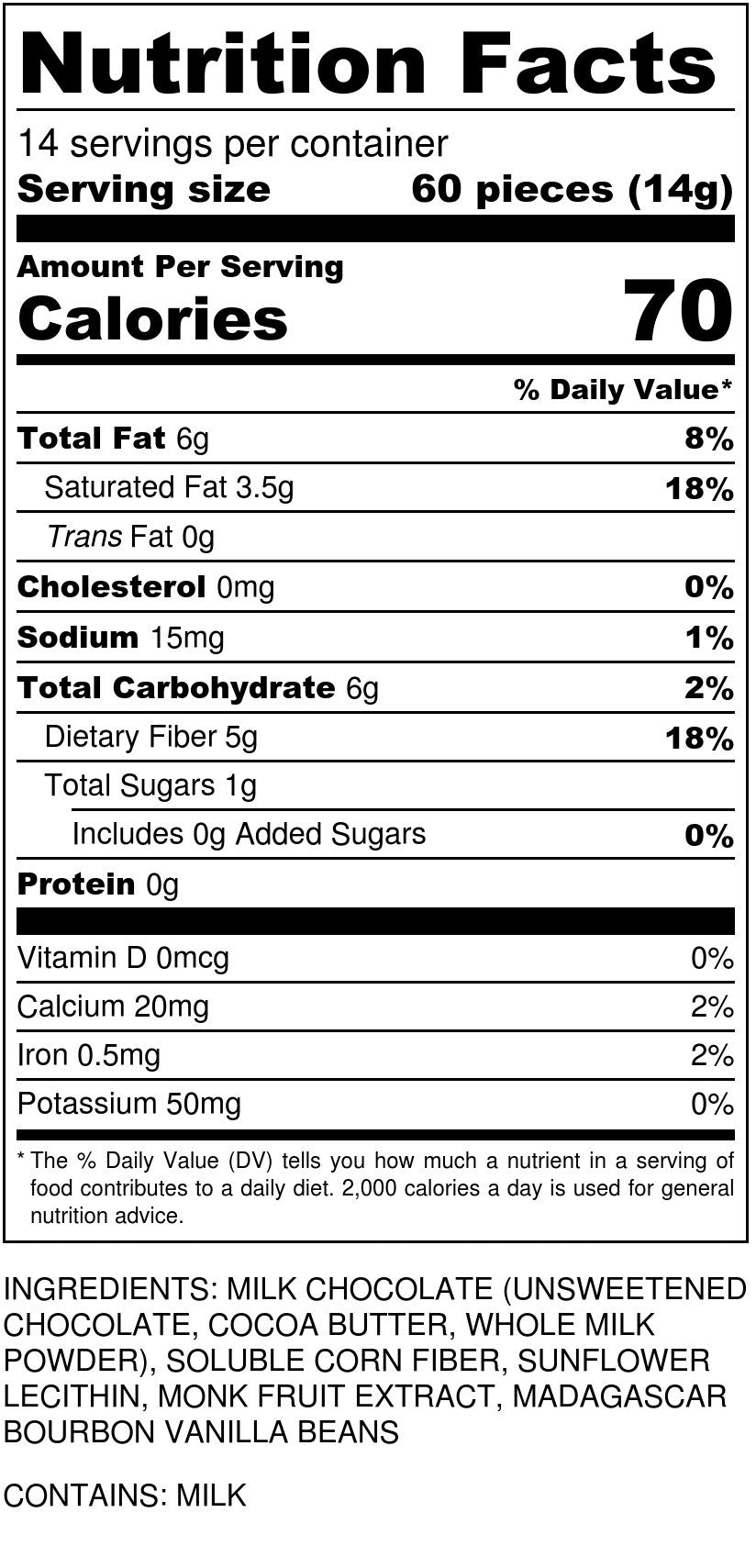 Sugar Free Milk Chocolate Chips Nutrition Facts