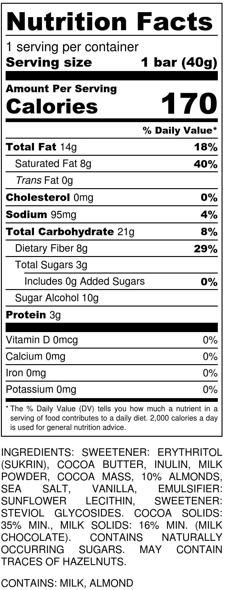 Milk Chocolate w/ Almonds & Sea Salt Nutrition Facts