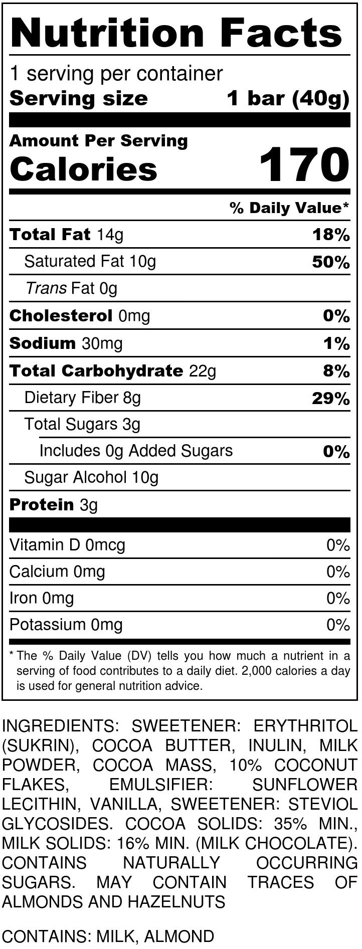 Milk Chocolate Caramel Nutrition Facts