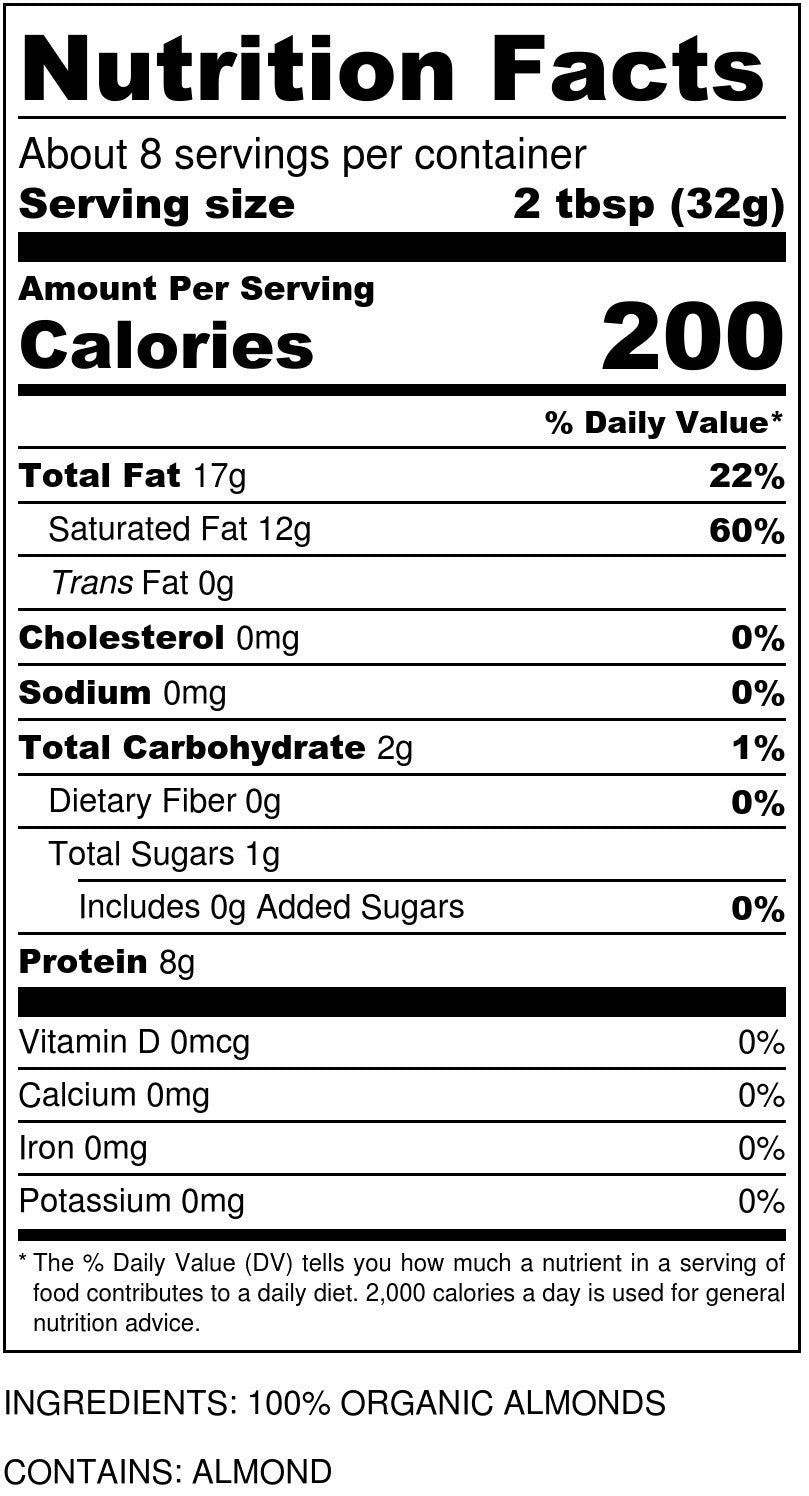 Organic Almond Butter Nutrition Facts