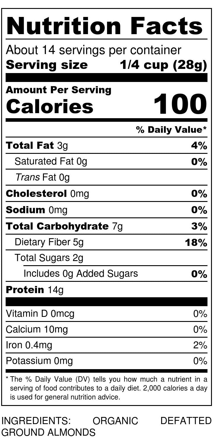 Organic Defatted Almond Flour Nutrition Facts