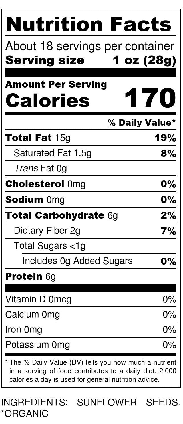 Organic Sunflower Seeds Nutrition Facts