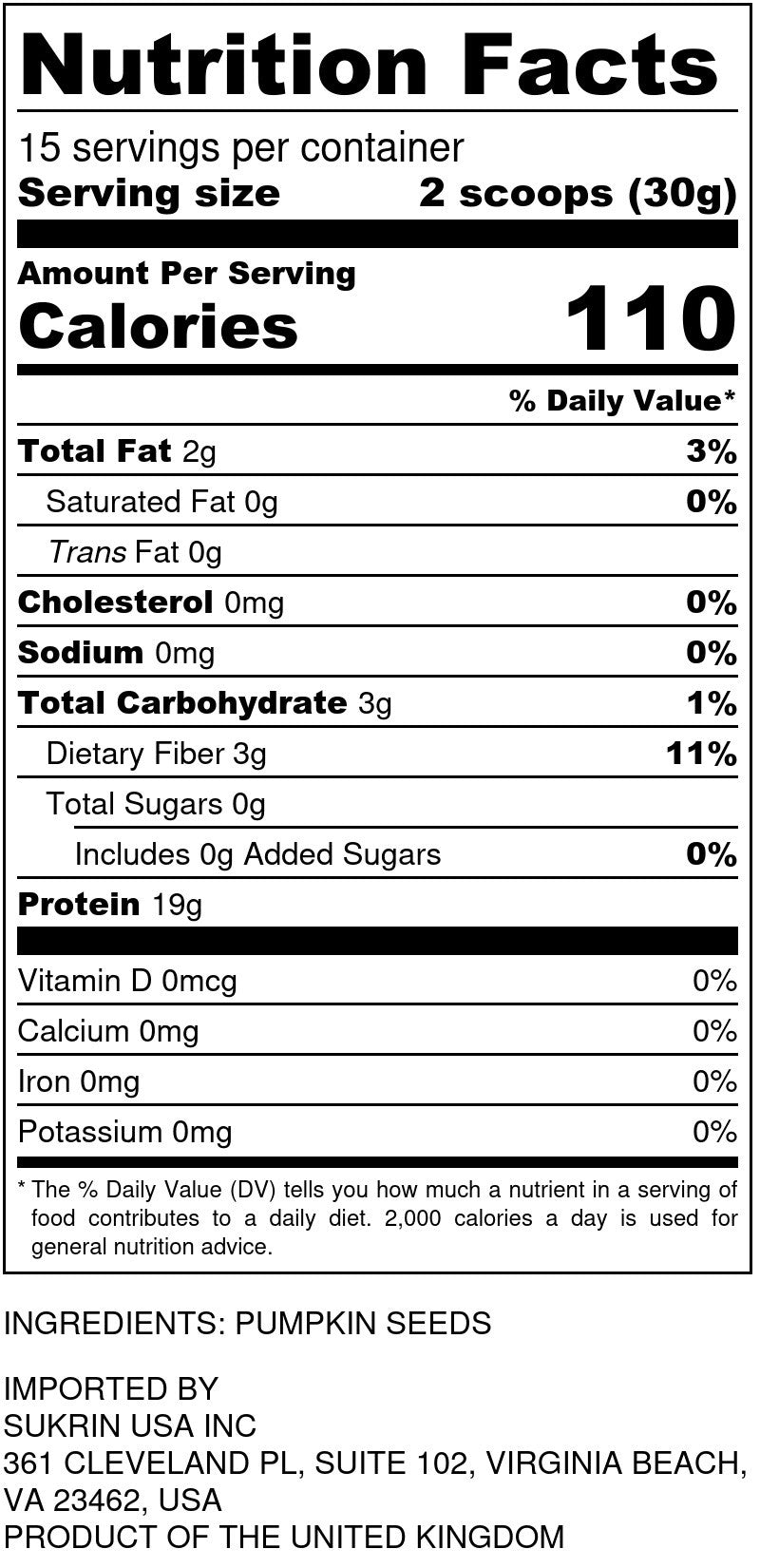 Organic Pumpkin Seed Protein Nutrition Facts