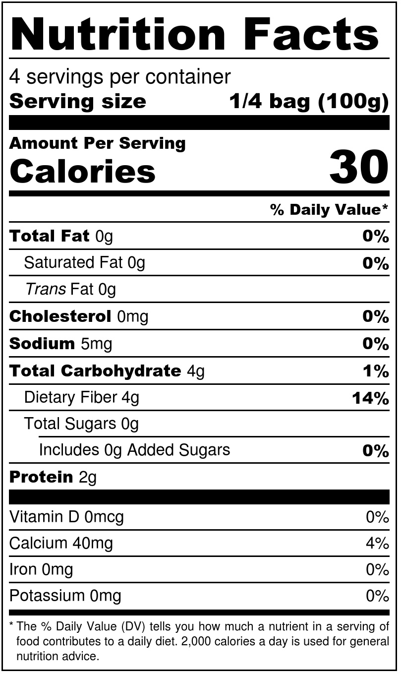Organic Shirataki Spaghetti with Oat Fiber Nutrition Facts