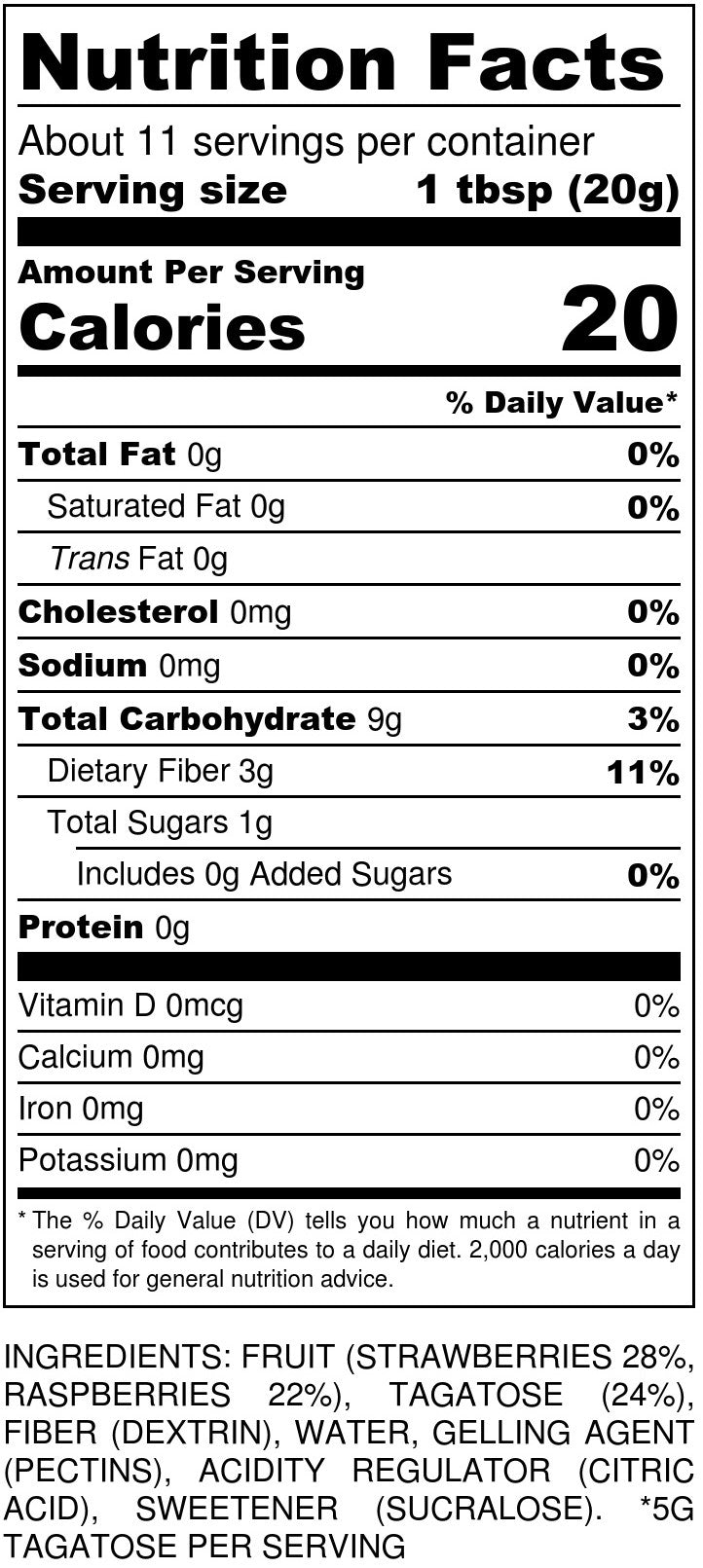 No Sugar Added Strawberry/Raspberry Jam Nutrition Facts