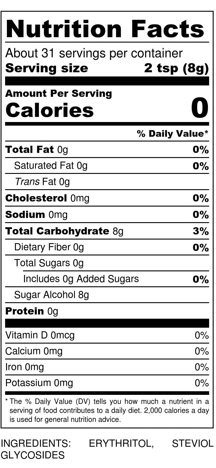 Sukrin:1 Nutrition Facts
