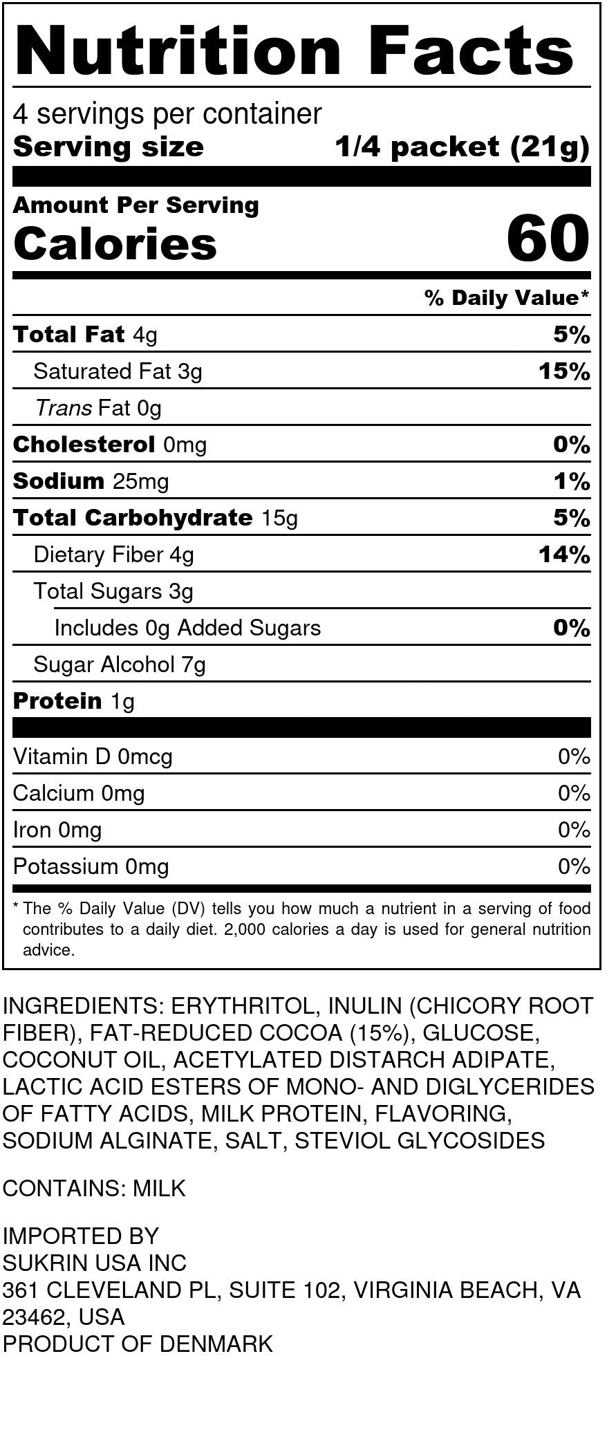 Chocolate Mousse Nutrition Facts