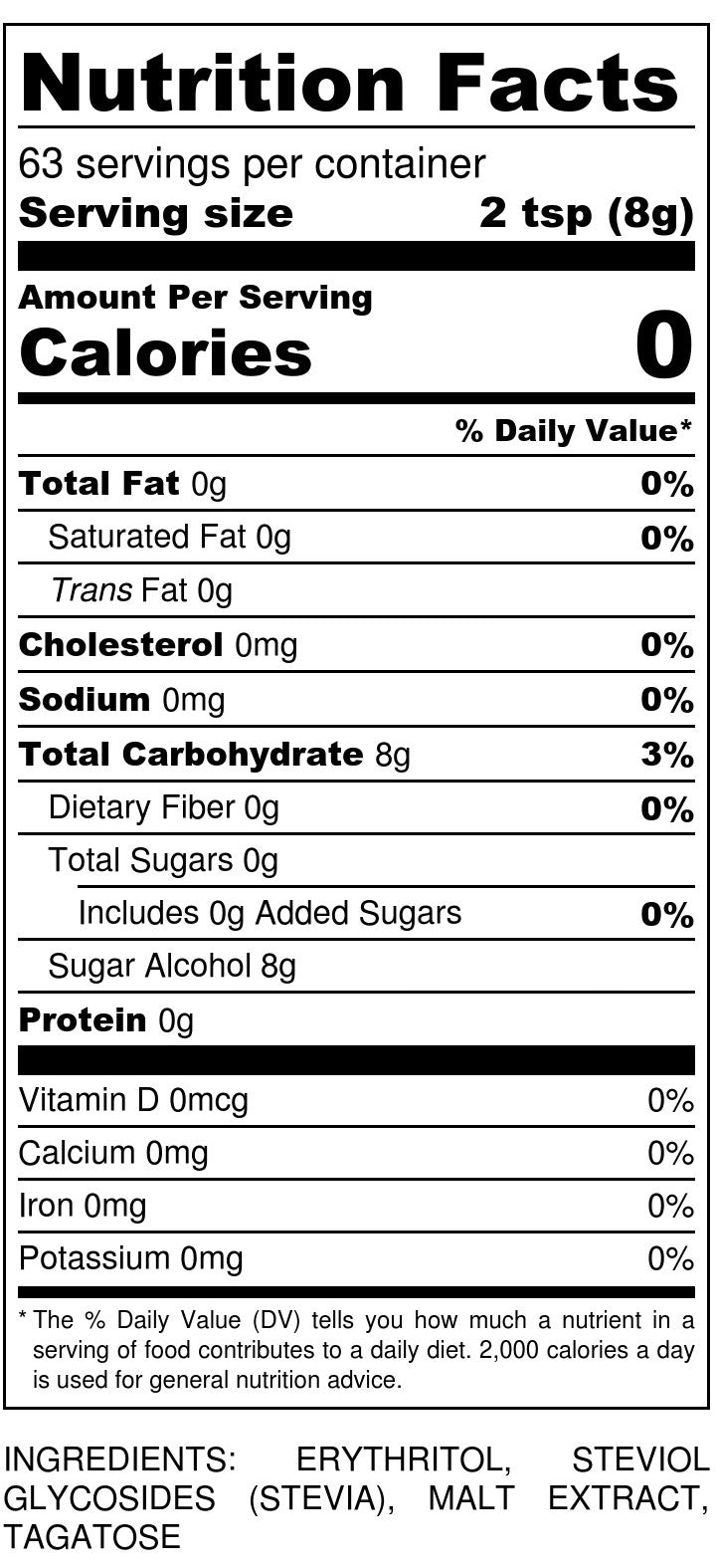 Sukrin Gold 500g Nutrition Facts