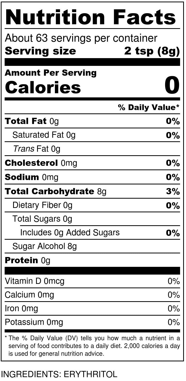 Sukrin Granulated Nutrition Facts