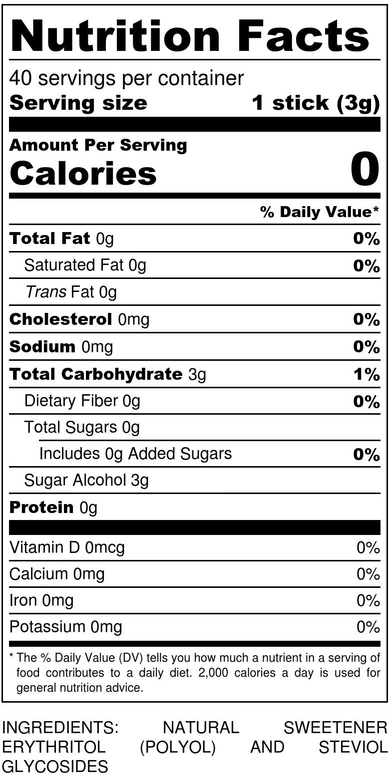 Sukrin+  Sticks Nutrition Facts