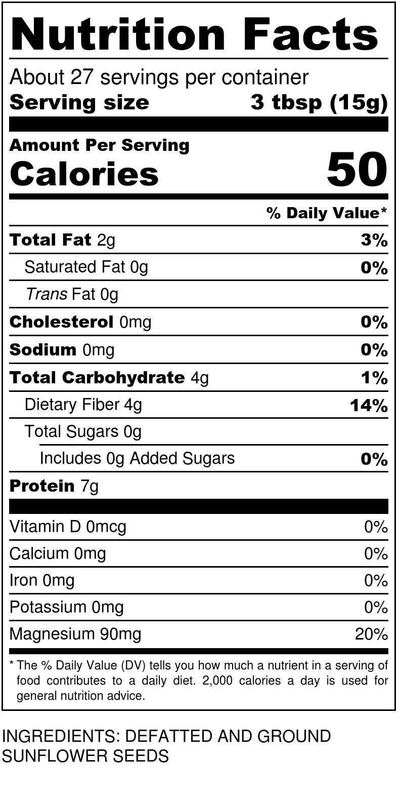 Sun Flour Nutrition Facts