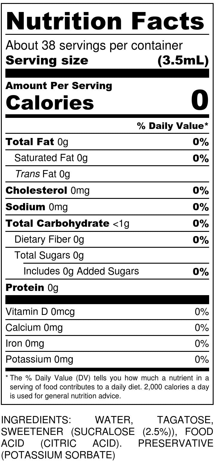 Liquid Tagatesse Sweetener Nutrition Facts