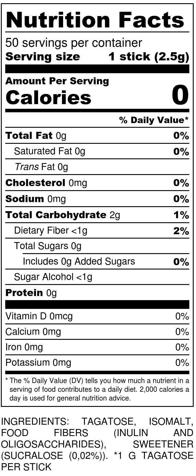 Tagatesse Sticks Nutrition Facts