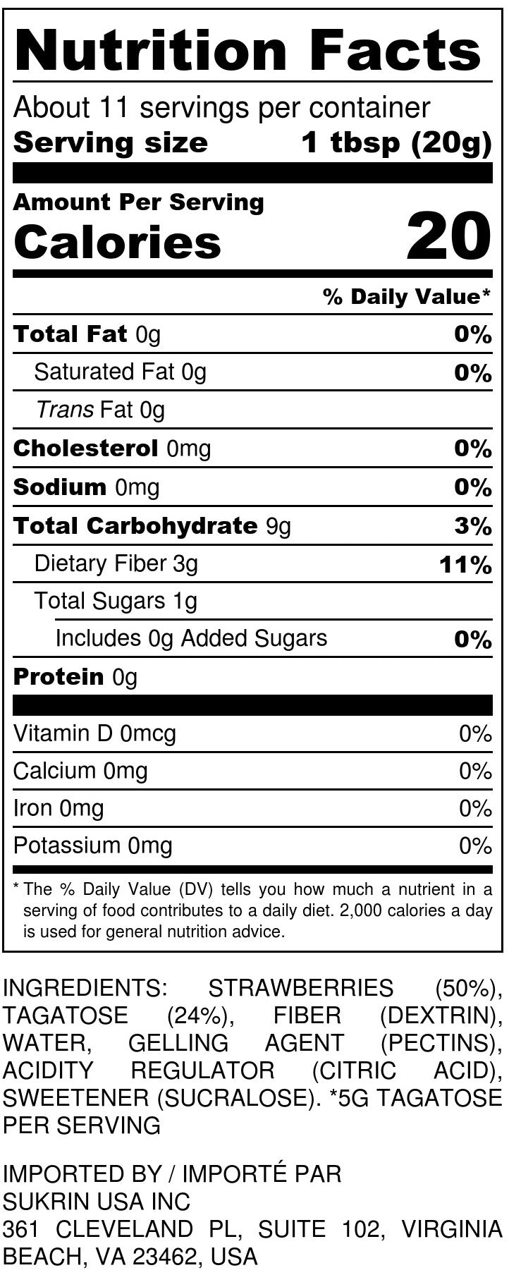 No Sugar Added Strawberry Jam Nutrition Facts