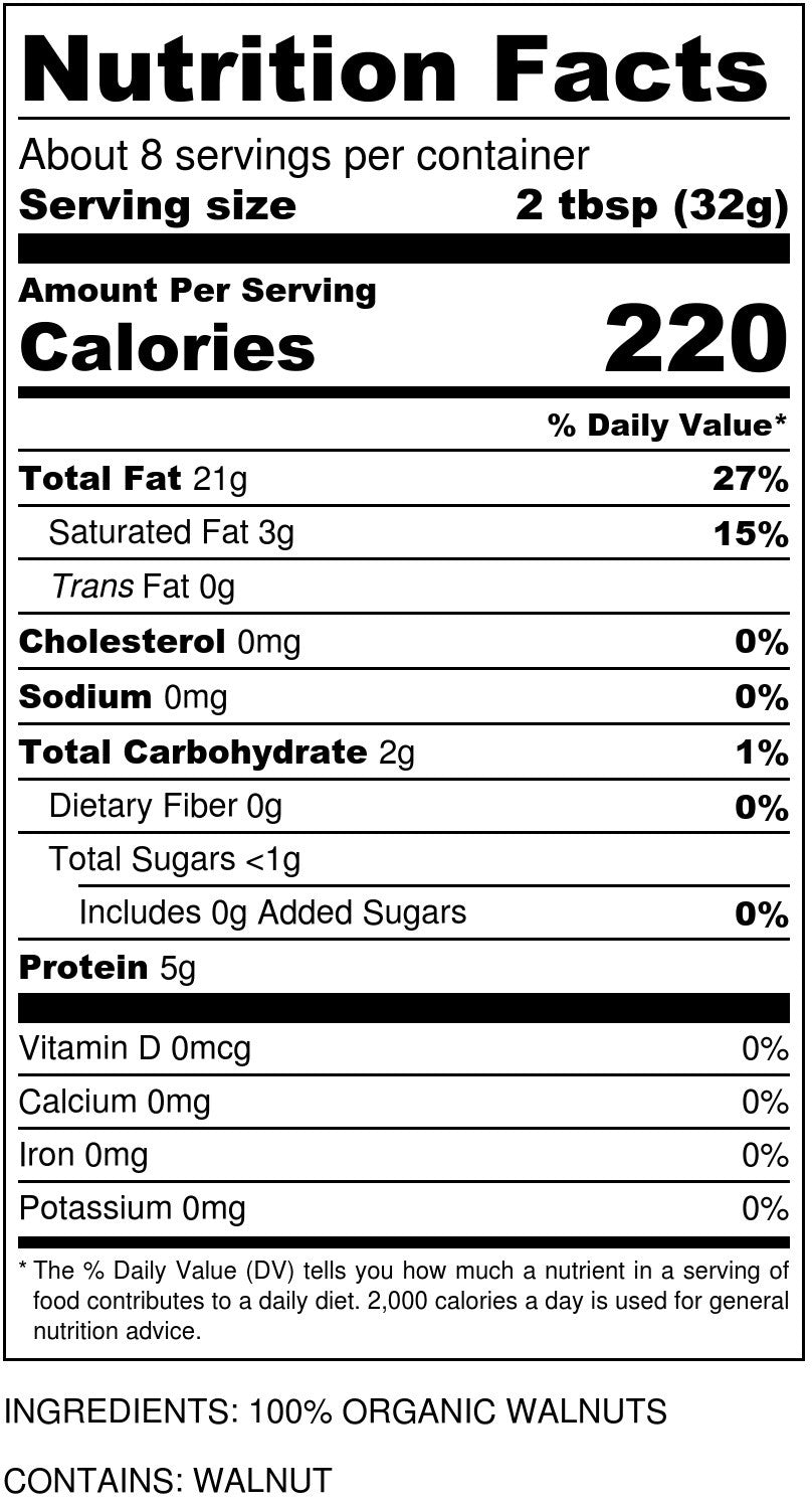 Organic Walnut Butter Nutrition Facts