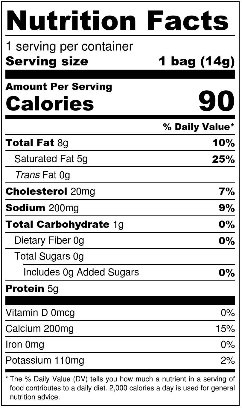 White Cheddar Minis Nutrition Facts