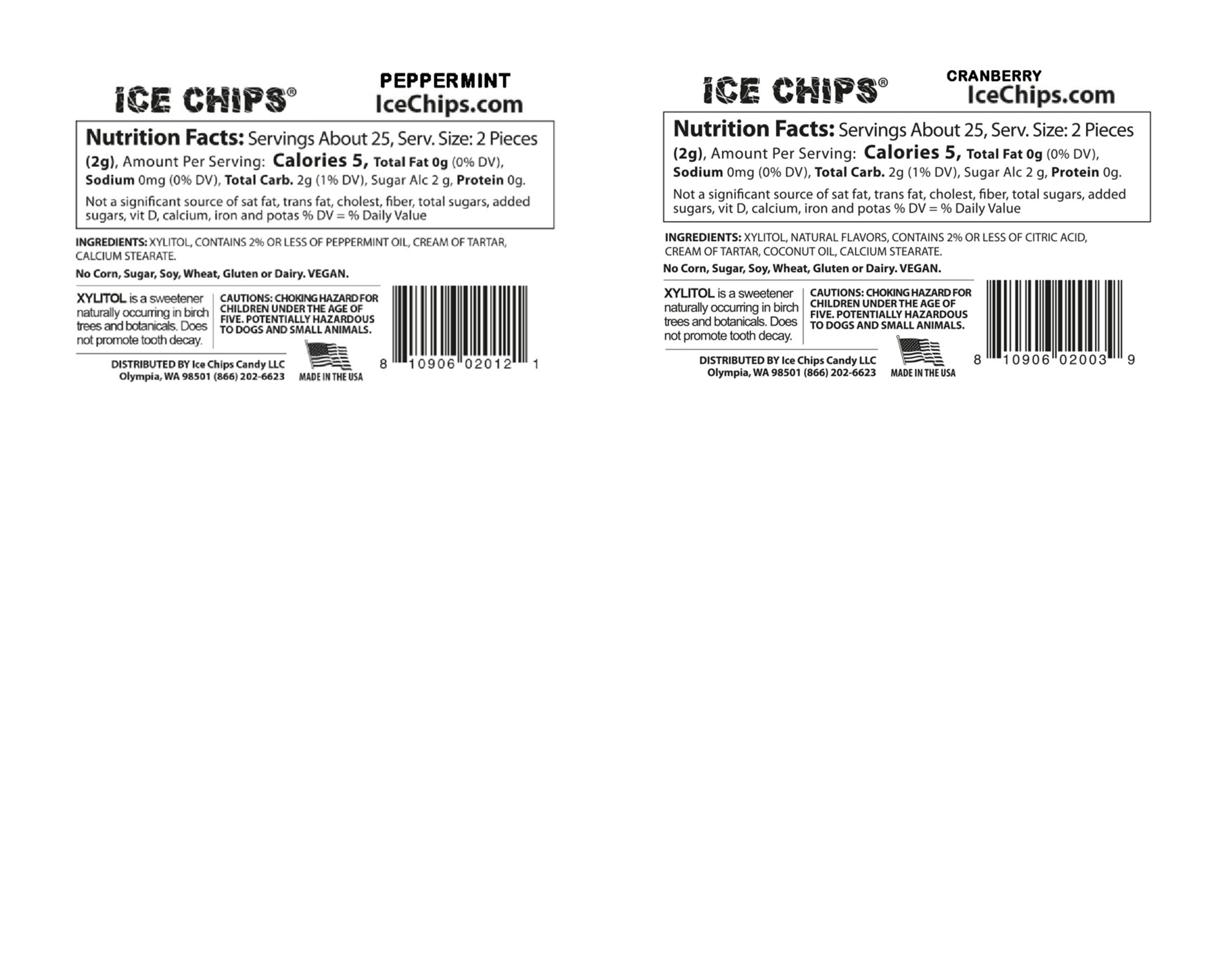 Ice Chips Holiday Pack Nutrition Facts