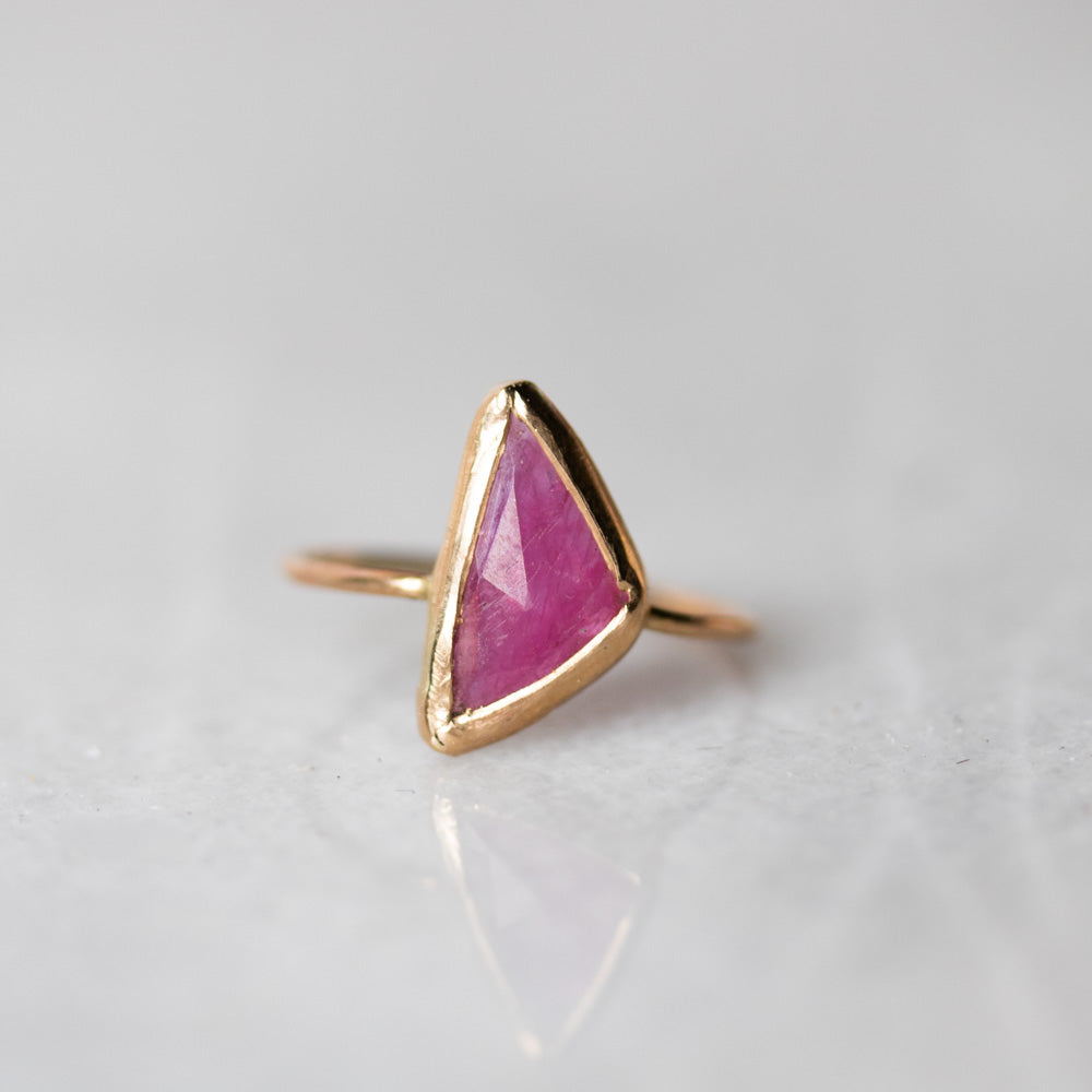 Unicus with Asymmetrical Ruby Gold Ring