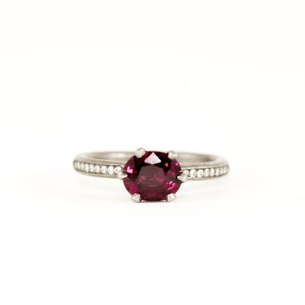Iris With Neon Garnet Engagement Ring