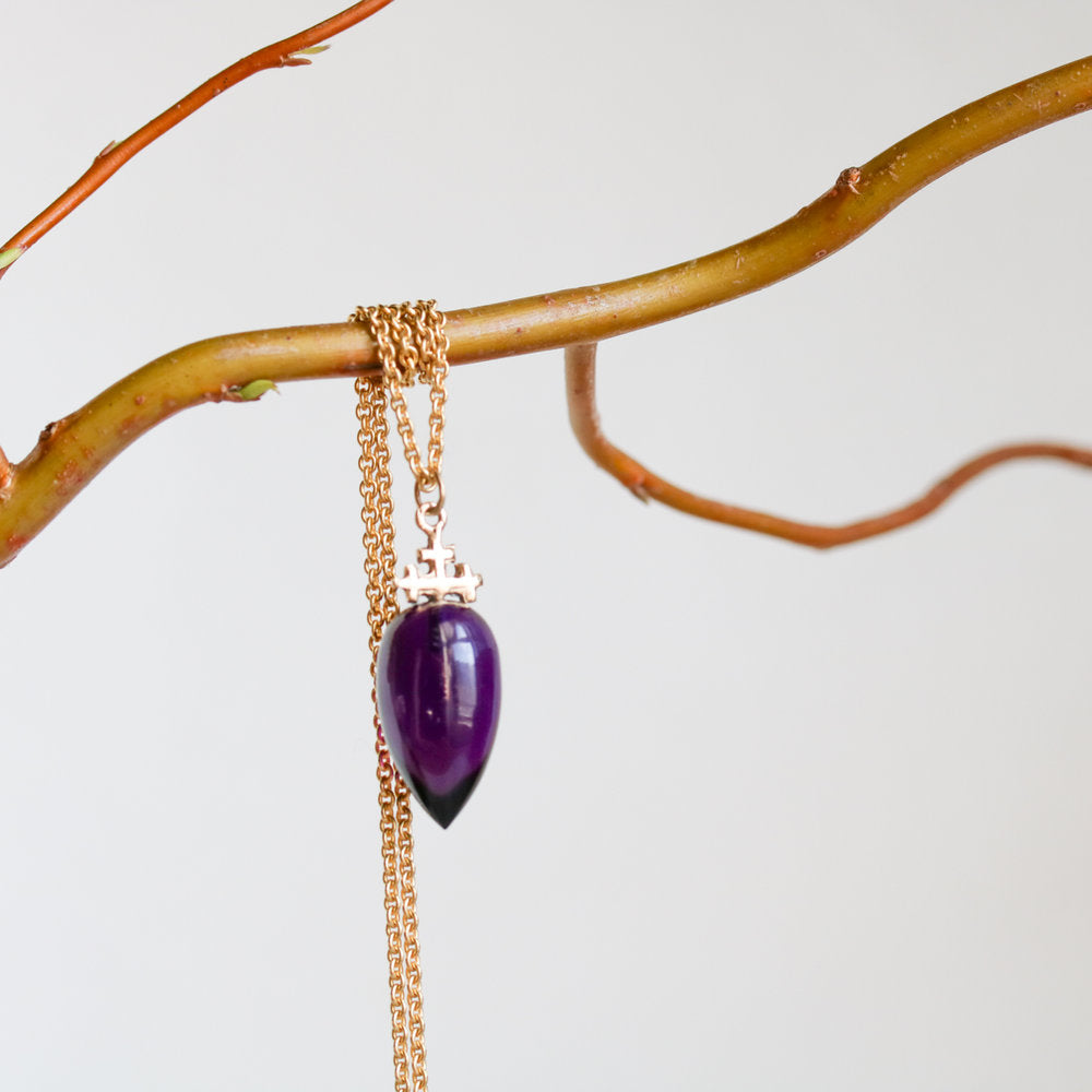 Trias Amethyst Drop Necklaces