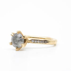Iris Engagement Ring With Round Salt & Pepper Diamond