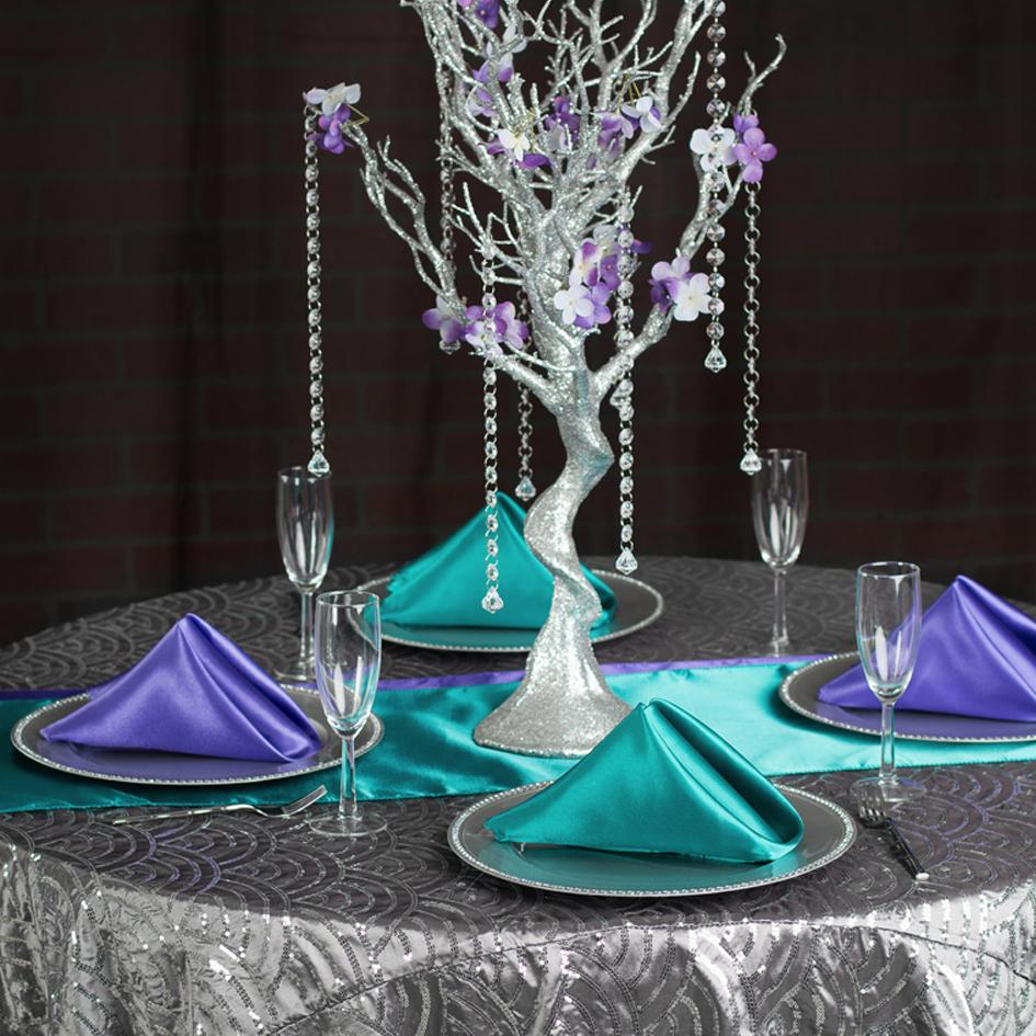 Bold Turquoise & Purple Mermaid Sequin Tablescape