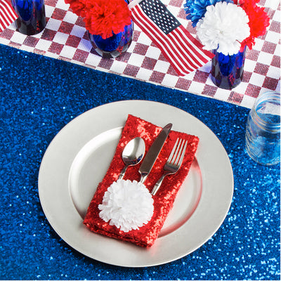Bright Tablecloths with Shiny Accents for the 4th of July!