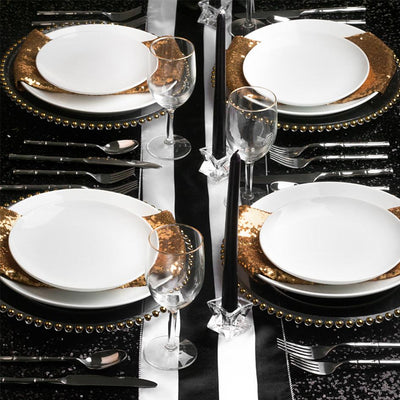 Chic & Sophisticated Black Stripe Sequins Tablescape