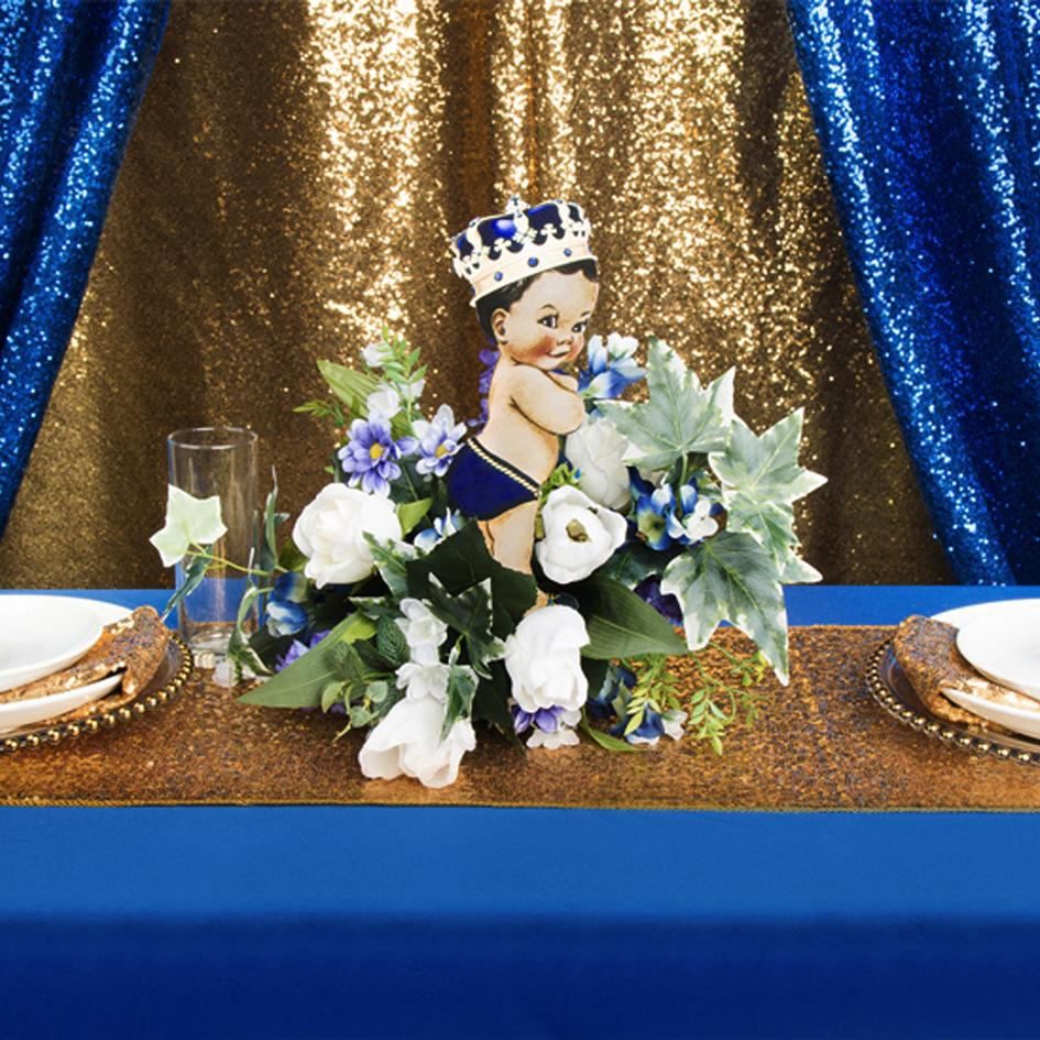 Little Prince Baby Shower With Blue & Gold Glitz