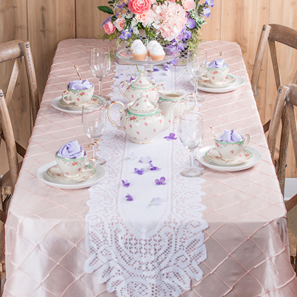 Mother's Day Pintuck with Lace Runner Tablescape