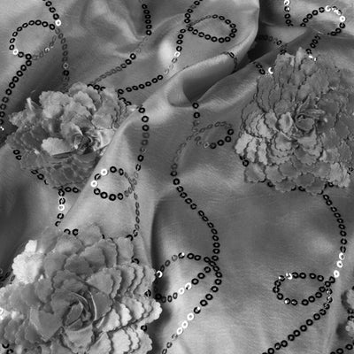 New: Flower Sequin on Taffeta & Crochet Lace