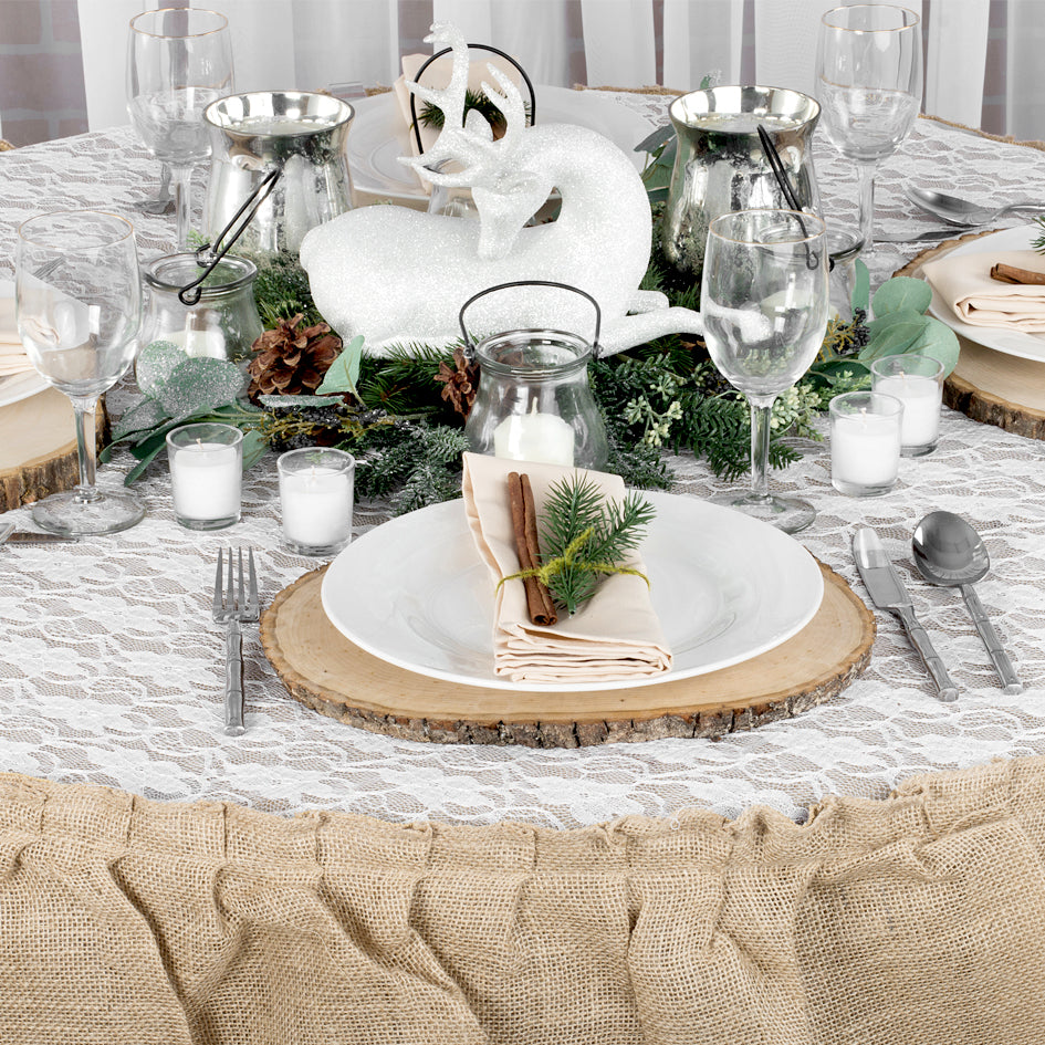 Rustic Winter Tablescape with Burlap Linens & Lace
