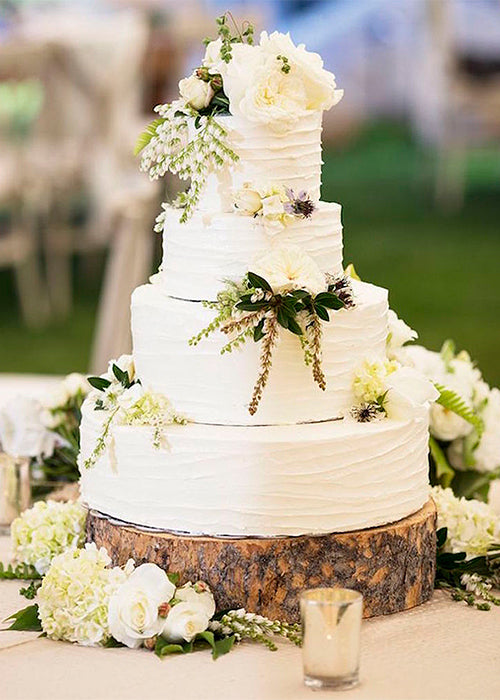 10 Creative Ways to Style Wood Slabs in Your Wedding Decor Cake Stand