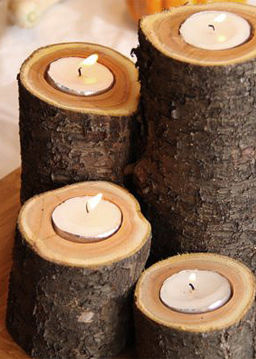 10 Creative Ways to Style Wood Slabs in Your Wedding Decor Candle Stick