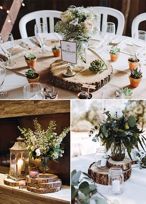 10 Creative Ways to Style Wood Slabs in Your Wedding Decor Centerpiece